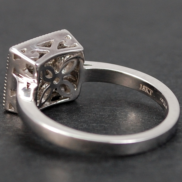 18ct White Gold Square Diamond Ring in Modern Jewellery from Coopers Jewellery, North Devon