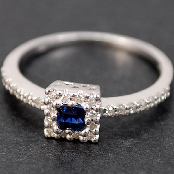 18ct White Gold Sapphire and Diamond Ring in Modern Jewellery from Coopers Jewellery, North Devon