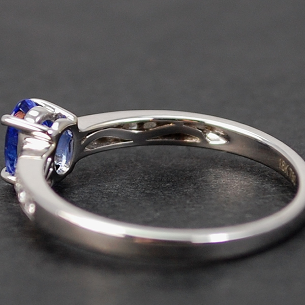 18ct White Gold Tanzanite and Diamond 11 Stone Ring in Modern Jewellery from Coopers Jewellery, North Devon
