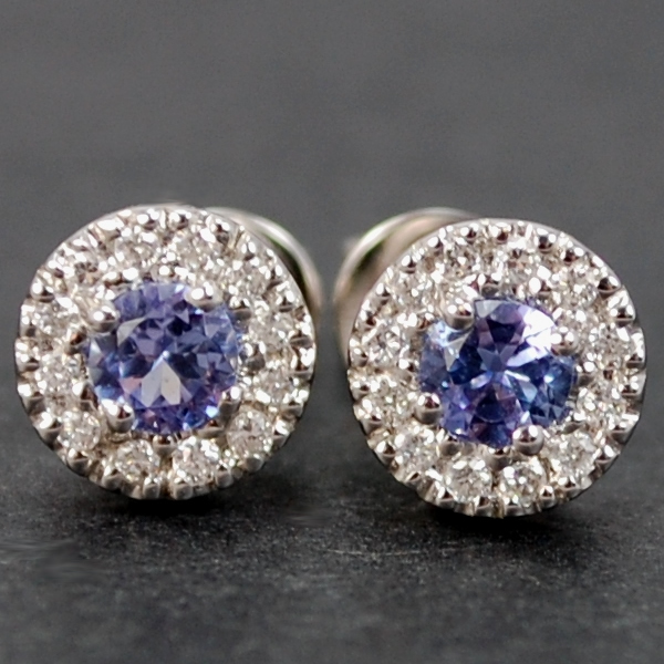18ct White Gold Tanzanite and Diamond Stud Earrings in Modern Jewellery from Coopers Jewellery, North Devon