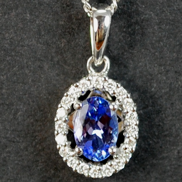 18ct White Gold Diamond and Tanzanite Oval Pendant in Modern Jewellery from Coopers Jewellery, North Devon