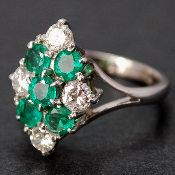 Vintage 18ct White Gold Emerald and Diamond Marquise Ring in Vintage Jewellery from Coopers Jewellery, North Devon