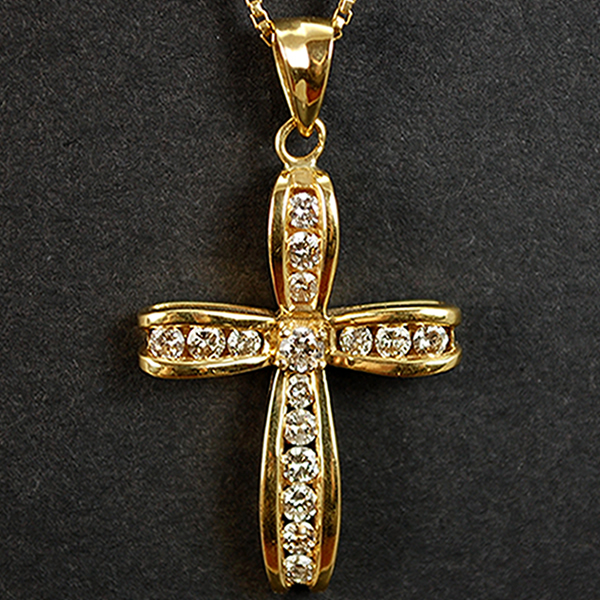 18ct Yellow Gold Diamond Cross Pendant in Modern Jewellery from Coopers Jewellery, North Devon