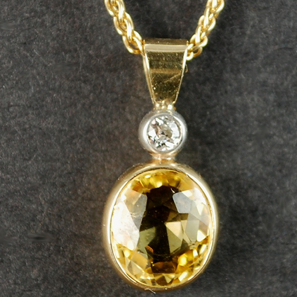 18ct Yellow Gold Yellow Sapphire and Diamond Pendant  in Modern Jewellery from Coopers Jewellery, North Devon