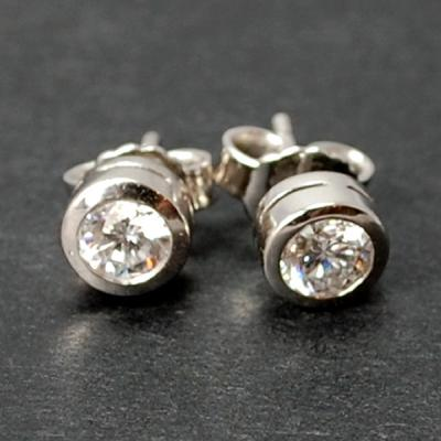 18ct White Gold Brilliant Cut Rub Over Set Diamond Stud Earrings in Modern Jewellery from Coopers Jewellery, North Devon