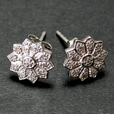 18ct White Gold Diamond Cluster Stud Earrings in Modern Jewellery from Coopers Jewellery, North Devon