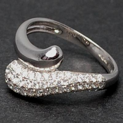 18ct White Gold Pave Set Diamond Twist Ring in Modern Jewellery from Coopers Jewellery, North Devon