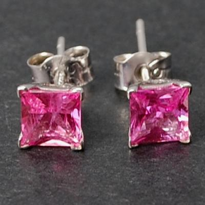 18ct White Gold Princess Cut Pink Sapphire Stud Earrings in Modern Jewellery from Coopers Jewellery, North Devon