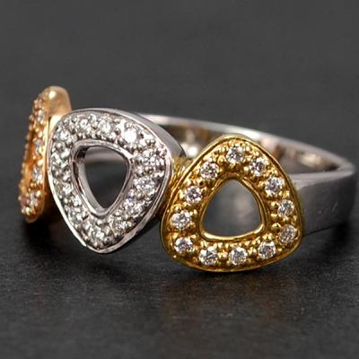 18ct White Gold 3 Colour Diamond Band Ring in Modern Jewellery from Coopers Jewellery, North Devon