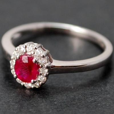 18ct White Gold Ruby and Diamond Cluster Ring in Modern Jewellery from Coopers Jewellery, North Devon