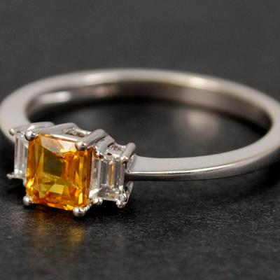 18ct White Gold Yellow Sapphire and Diamond 3 Stone Ring in Modern Jewellery from Coopers Jewellery, North Devon