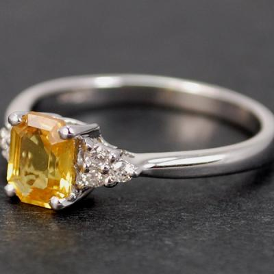 18ct White Gold Yellow Sapphire and Diamond Ring in Modern Jewellery from Coopers Jewellery, North Devon