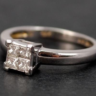 18ct White Gold Princess Cut Diamond Cluster Ring in Modern Jewellery from Coopers Jewellery, North Devon