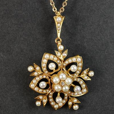 Victorian 18ct Seed Pearl and Diamond Pendant  in Antique Jewellery from Coopers Jewellery, North Devon
