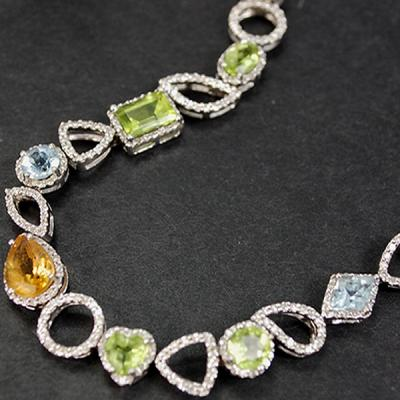 18ct White Gold Multi Gem Stone and Diamond Bracelet in Modern Jewellery from Coopers Jewellery, North Devon