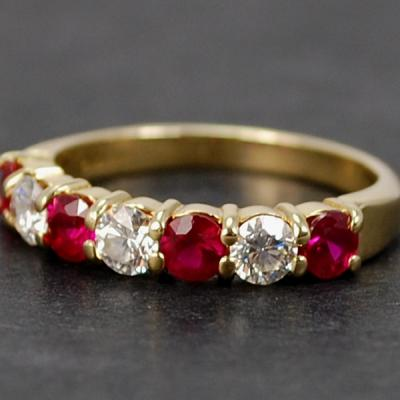 18ct Yellow Gold Ruby and Diamond 7 Stone Half Eternity Ring in Modern Jewellery from Coopers Jewellery, North Devon