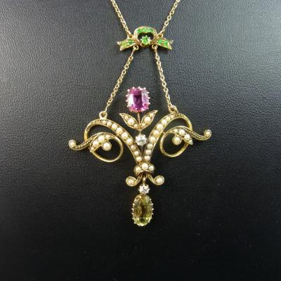 9ct Gold Pendant Necklace Set with a Diamond Centre Stone with Seed Pearls. in Antique Jewellery from Coopers Jewellery, North Devon
