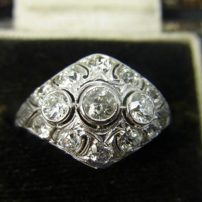 Art Deco Fancy Diamond Ring Set in 18ct Gold in Vintage Jewellery from Coopers Jewellery, North Devon