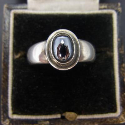Silver Vintage Georg Jenson Ring Set with an Oval Hematite Stone in Vintage Jewellery from Coopers Jewellery, North Devon