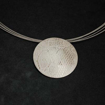 Lace Effect Silver Pendant Necklace in Silver Jewellery from Coopers Jewellery, North Devon