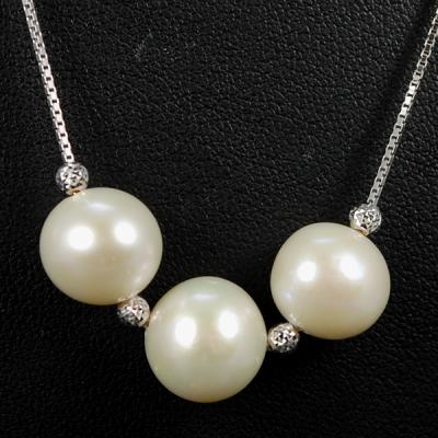 Silver Pearl and Cubic Zirconia Necklace in Silver Jewellery from Coopers Jewellery, North Devon
